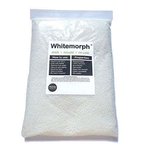 Thermoworx Whitemorph bioplástico 1 Kilogramo. Reutilizable moldeable a Mano termoplástico. Artes, Manualidades y Bricolaje