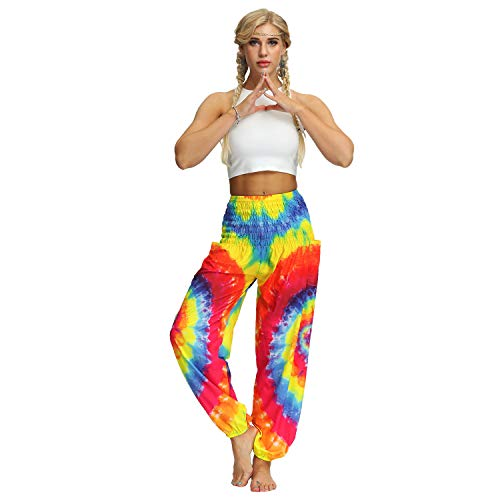 Xiaxiacole Women Tie Dye Yoga Pants Comfy Loose Travel Pajama Lounge Pants Beach Pants