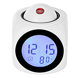 Projection Alarm Clock Voice Alarm Clock, LED Wall Ceiling Projection LCD Digital Voices Talking Temperature Meter Smart Clock, Multi-function Digital LCD Voice Talking LED Projection Wake Up Bedroom