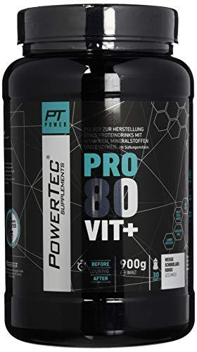 POWERTEC SUPPLEMENTS Pro 80 Vit+ - hochwertiges Protein mit Vitaminen, Zink und Chrom - rasche, anhaltende Eiweißversorgung (Kokosnuss Weiße Schokolade), 900 g