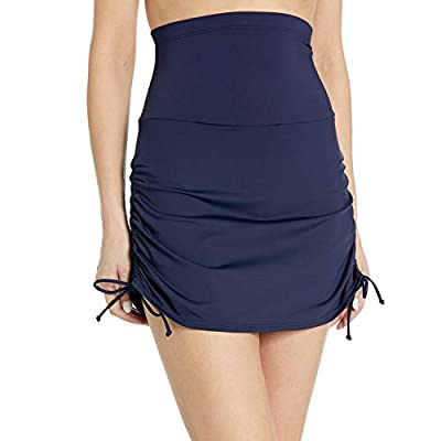 Anne Cole Women's Super High-Waist Shape Control Skirt Bikini Bottom Swimsuit, Navy, Large from Anne Cole