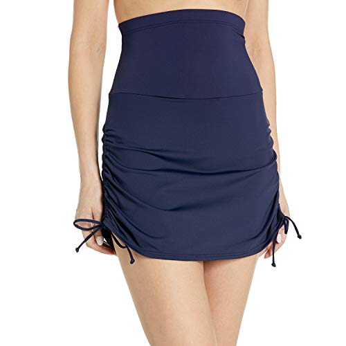 Anne Cole Women's Super High-Waist Shape Control Skirt Bikini Bottom Swimsuit, Navy, Medium