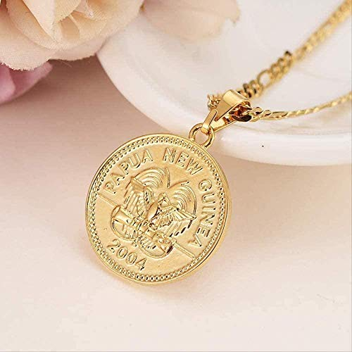 LBBYMX Co.,ltd Necklace Fashion 1 Cent Coin Pendant Earrings with Gold Figaro Chain for Women Party Wedding Jewelry with African Bird of Paradise Charm for Girls