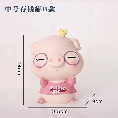 Mondo dei fiori Resina Crafts_Creative Resina Artesanía Decoración Cool Music Piggy Bank Wind Chime Home, Medium Piggy Bank B, Cool Music Pig Series Cumpleaños