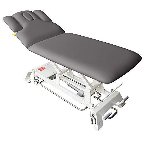 Elektrische Massageliege Houston Höhenverstellbare 2 Zonen Profi Behandlungsliege ca. 198 x 74 cm Kosmetikliege Therapieliege mit vielen Extras (Grau)