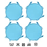LXXTI Cojín para Silla con Cintas para Interior Y Exterior, 38X38 Cm Cojín Redondo De Asiento con Cintas De Sujetación, para Muebles De Jardin, Terraza, Set De 4,Azul