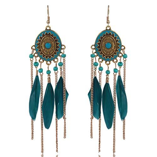 Bohend Pendientes bohemios con borla de plumas doradas, pendientes largos y turquesas, para viajes, playa, para mujeres y niñas (azul)