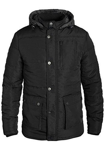 Blend Lima Herren Winter Jacke Herrenjacke Winterjacke gefüttert mit Stehkragen und Abnehmbarer Sweatkapuze, Größe:L, Farbe:Black (70155)