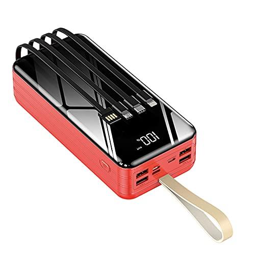 LIMIAO Cargador Portátil Power Bank Diseño Simple, Elegante Y Compacto Carga Rápida, 40000-80000Mah USB Paquete De Batería De Gran Capacidad, Cables De Carga Incorporados,Rojo,80000mah