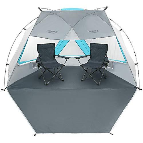 Bessport Tienda de Playa con Sun Shelter para 1-2 Personas, 3-4Personas, UPF 50+Portátil Tienda de Playa, para Playa, Pesca, Senderismo y Camping (XL-Blanco y azu)