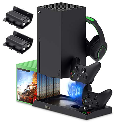 Vertical Stand for Xbox Series X with Cooling Fan Charging Station Dock for Xbox Series X Controller with 10 Game Storage Organizer Gaming Headset Stand and 2X1400 mAh Rechargeable Battery Packs