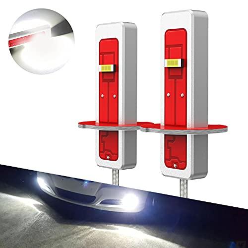 Pulilang Bombillas LED Antiniebla H3 CSP Chips 6000K Xenón Blanco LED de Conducción Diurna Lámparas Antiniebla DRL Para Reemplazo Halógeno, 12-24V Sin Polaridad 40W 5000LM, 2 Lámparas
