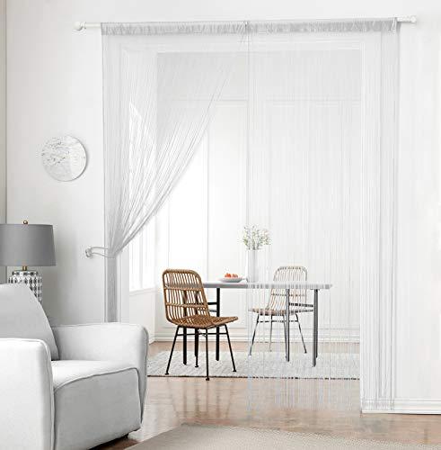 Cortina Taiyuhomes de tiras densa hecha a mano para puertas y ventanas como protección contra insectos, 100% poliéster y mezcla de poliéster., Blanco, 90x200cm