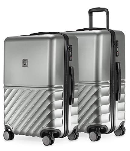 HAUPTSTADTKOFFER - Boxi - 2er Kofferset Trolley-Set Rollkoffer Reisekoffer mittelgroßer Koffer (65 cm), ABS-Hartschale TSA, 4 Spinner-Doppelrollen, Silber
