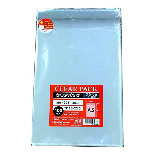 カクケイ OPP袋 クリアパック フタ付 テープ付 30μ 100枚 TP16-22.5