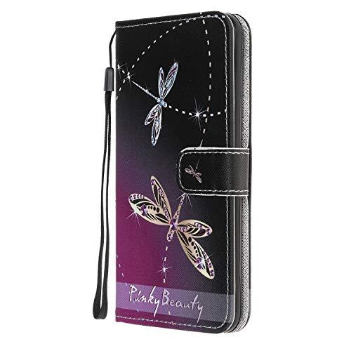 Nadoli Coloré Peint Libellule Désign Housse Coque en Cuir avec Magnetique Premium Fonction de Support Flip Case Portefeuille Etui pour Samsung Galaxy A70e