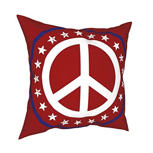 Fundas de almohada, diseño náutico, color rojo, blanco y azul, con signo de paz y estrellas decorativas para el hogar, fundas de cojín cuadradas para sofá, sala de estar, cama 45,7 x 45,7 cm