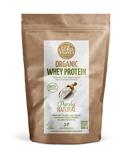 Organic Whey Protein - Natural - 80% Protein, Certified Organic, from Grass Fed Cows, Free of Nasties - 500g