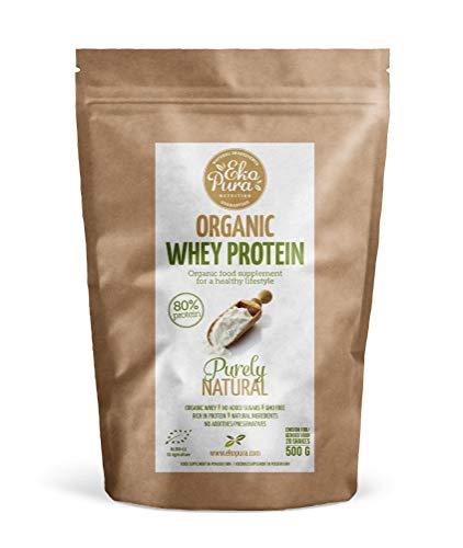 Ekopura Organic Whey Naturel 80% de Protéines Certifié Biologique de Vaches Nourries à l'Herbe sans Additif