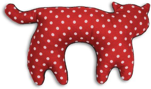 Leschi REISEKISSEN für erholsamen Schlaf in Auto, Flugzeug und Camping-Bett/Reisegeschenk für Kinder und Erwachsene/waschbares Nackenkissen/Katze Feline, rot gepunktet schwarz