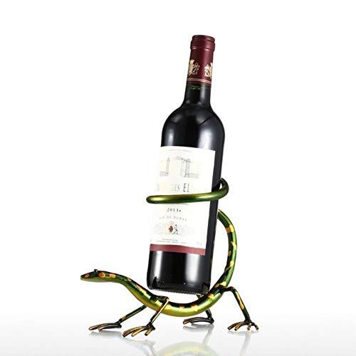 LINWX Divertido Gecko Wine Rack Bottle Holder Bar de Escultura de Hierro Red Wine Holder Estante de Metal Decoración del hogar Artesanías, como Imagen