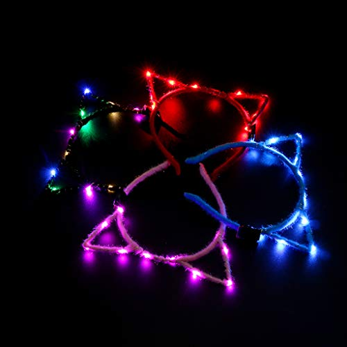luosh 1 Diadema con luz LED Parpadeante, Lindo aro para el Cabello, Luces de Cadena Brillantes, Diadema Envuelta en Tela de Felpa, Suministros para Fiestas, Color Aleatorio