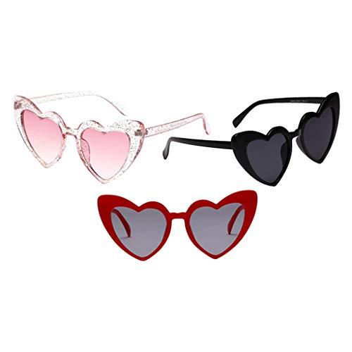 freneci Gafas de Sol de Estilo Vintage de Verano con Forma de Corazón para Mujer de 3 Piezas