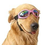 VANVENE Pet Glasses Dog Sunglasses Dog Glasses Golden Retriever Samoyed Sunglasses Goggles Big Dog Eye Wear Protection (pink)