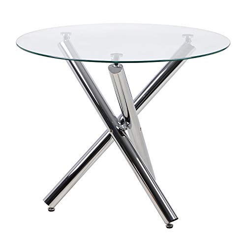 JEFFORDOUTLET Round Dining Table, 90 cm Glass Safe Table Top with Chrome Stylish Stable Table Legs,Kitchen Table