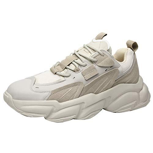 Jamron Hombre Ante + PU + Malla Zapatillas de Deporte Moda Chunky Sneakers Beige SN071023 EU40