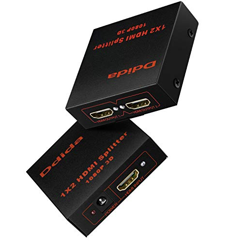 DDIDA Hdmi Splitter 1 in 2 Out, Powered Full HD 1080P V1.4 HDMI Display,Support 4K/2K & 3D Resolution-1 Input to 2 Outputs