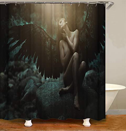 Decoración Hogareña. Ángel Negro. Chica Sol Cortina De Ducha 180X180Cm. Impresión 3D HD. Tejido Impermeable. Gancho Libre 12 Ganchos Gratis.