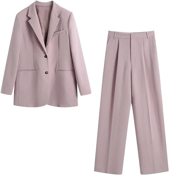 JJWC Women Blazer and Wide Leg Pants Sets Two Pieces Single Breasted Jacket Formal Suit Long Trousers Women Suit (Color : Pink, Size : M Code)