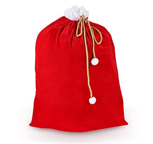 ilauke XXL Weihnachtssack- Nikolaussack Weihnachtsmann Sack- Geschenksack aus Samt für Weihnachten Geschenke (Rot und Weiss, 70 x 100 cm)