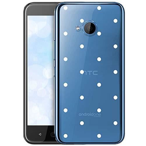 OOH!COLOR Schutzhülle Kompatibel mit HTC U11 Life Hülle Silikon Hülle Handy Tasche transparent Bumper mit Coolen Aufdruck Motiv weiße Punkte (EINWEG)