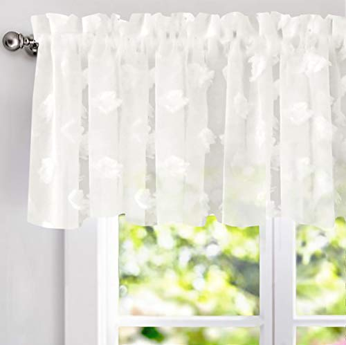DriftAway Olivia White Voile Chiffon Sheer Window Curtain Valance for Small Window Kitchen Embroidered Pom Pom Single Rod Pocket 60 Inch by 18 Inch Plus 2 Inch Header Off White