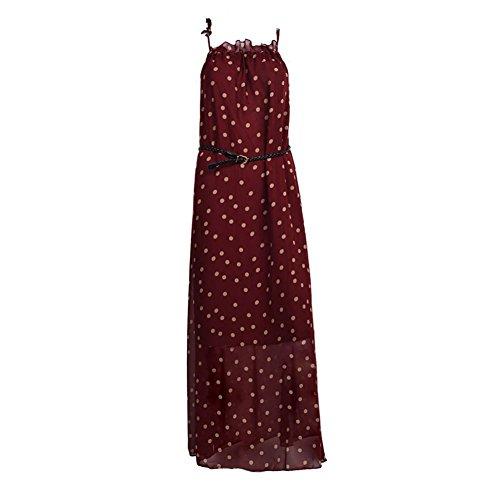 TOOGOO(R) Vestito Lungo Maxi da Donna in Chiffon da Donna Senza Maniche con Cintura Vino Rosso