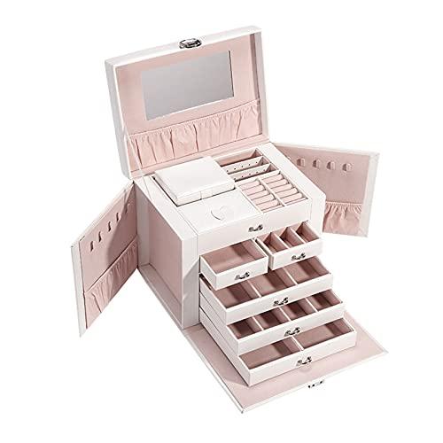 Caja de almacenamiento de joyas PU Cajas de joyas de viaje de cuero 6 Joyas de nivel de almacenamiento con bloqueo y espejo Recipientes de gran capacidad para anillos, collares, pendientes, pulseras C