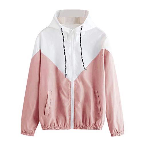 TUDUZ Damen Langarm Hoodies Patchwork Dünne Skins Suits mit Kapuze Reißverschluss Sport Mantel Outwear Windjacke (L, Pink)