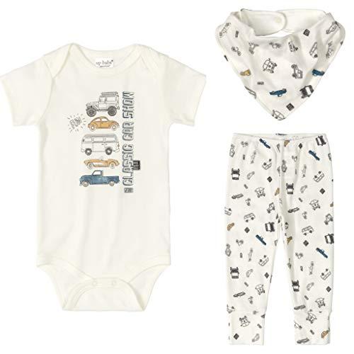 Conjunto Bebê Menino Algodão Body Calça Bandana 03 Peças Roupas de Bebe Carros Bege Up Baby (TAM 1 12-24 meses)