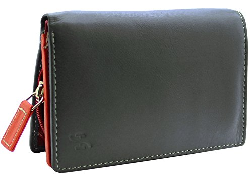 STARHIDE Ladies RFID Blocking Compact Multi Colour Soft Real Leather Wallet 5540 (Black Multi)