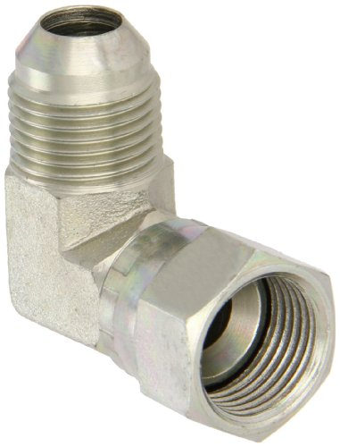 Eaton Aeroquip 2071-8-8S 90 Degree Swivel Nut Elbow, JIC 37 Degree End Types, Carbon Steel, 1/2 JIC(f) x 1/2 JIC(m) End Size, 1/2