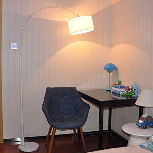 Diming vloerlamp boog LED vloerlamp voor woonkamer slaapkamer bedlampje Gooseneck, zwart/wit, afstandsbediening 01-18 (kleur: wit)
