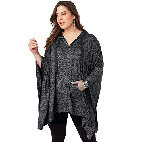 Roamans Women's Plus Size Supersoft Hoodie Poncho with Zip Front - Charcoal, M/L