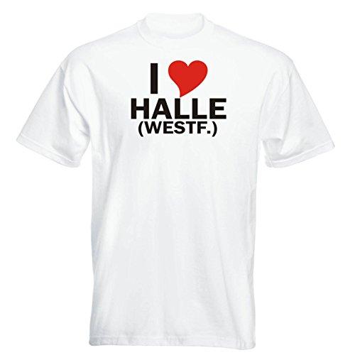 T-Shirt mit Städtenamen - i Love Halle (Westf.) - Herren - Unisex - weiß XXL - JDM - Die Cut - OEM - Funshirt - Fasching - Party - Geschenk