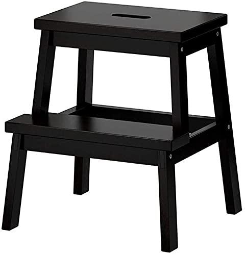 Taburete de escalón de 2 pasos, de madera, ligero, portátil, silla de escalón, silla de escalera, silla de escalera/silla de escalera para niño adulto para baño, biblioteca de casa, máx. 150 kg