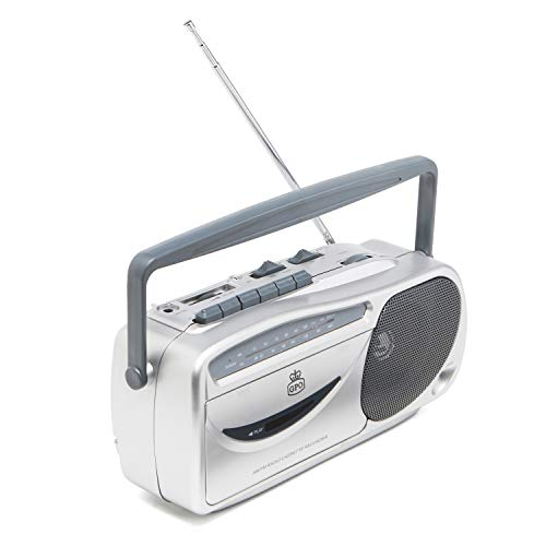 GPO 9401 Retro Portable AM FM Radio and Cassette Player, Tape Recorder with Built-In Microphone, Headphone Jack, Push Button Record, Rotary Tuning, Silver