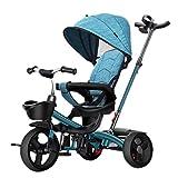 Triciclos de pedales para niños, triciclo triciclo para niños al aire libre, principiantes 4 en 1 con triciclos con asa de empuje, triciclo con sombrilla para niños de 1 a 6 años, dirección del asien