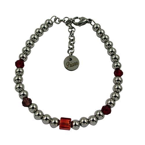 Priann Gioielli - Pulsera unisex de acero inoxidable y perla de cristal de Murano original, con hoja de oro de 24 quilates o plata 925. Fabricada en Italia rojo