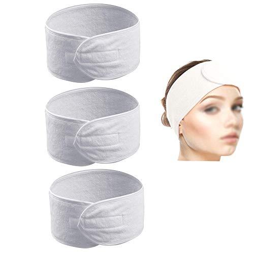 Amacoam Haarband voor dames, met klittenbandsluiting, verstelbare haarband voor badkamer, yoga, sport en gezichtsreiniging, 3 stuks, wit